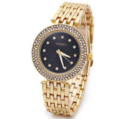 Cool Waterproof Men Quartz Watch with Diamonds Analog Round Dial Steel Watchband