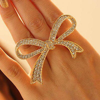 Rhinestoned Bowknot Shape Ring