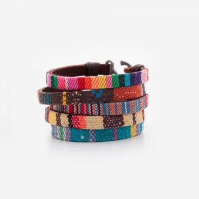 Faux Leather Woven Bracelet (ONE PIECE)
