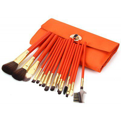 16Pcs Professional Soft Cosmetic Face Brush Finishing Powder Blush Brush Sets for Women with Orange Leather Bag