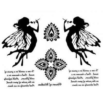 Chic Angel and Flower Pattern Waterproof Tattoo Sticker For Women