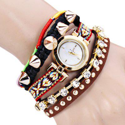 Rivet Diamonds Style Women Bracelet Watch with 4 Strips Hour Marks and Leather Watchband - Random Color