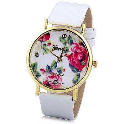 Geneva Women Watch Analog with Diamonds Rose Round Dial Leather Watch Band