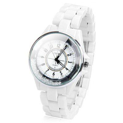 Stylish Waterproof Men's Watch Analog with Beads Design Round Dial Ceramic Watch Band