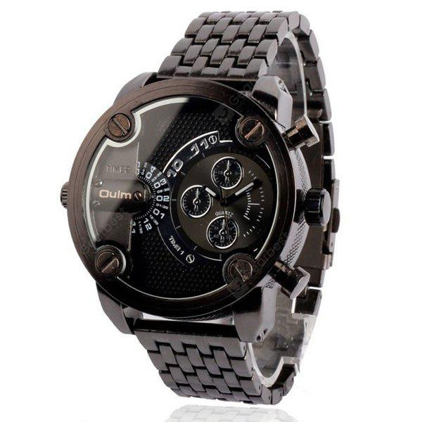 Oulm Popular Waterproof Men Watch Analog with Double - movt Round Dial Steel Watch Band