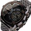 Oulm Popular Waterproof Men Watch Analog with Double - movt Round Dial Steel Watch Band - BLACK