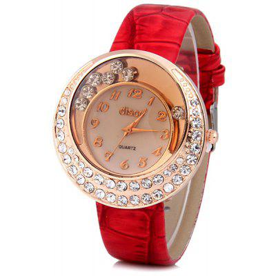 Fashion Women Watch Analog with Diamonds Design Round Dial Leather Watch Band
