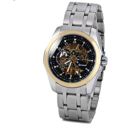 Gucamel Cool Men Automatic Mechanical Watch with Analog Round Dial Steel Watchband