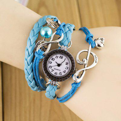Fashion Style Watch with Bead Pendant and Knitting Leather Watch Band
