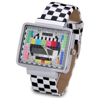 Fashion Women Watch Analog with Checkered Design Rectangle Dial Leather Watch Band