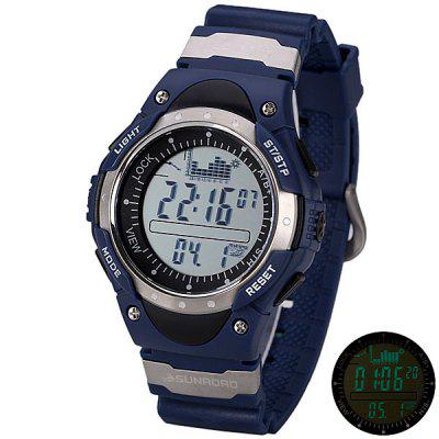 SUNROAD Superb LED Digital Fishing Barometer Watch with Altimeter Thermometer Date Round Dial and Rubber Band
