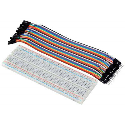 Superb MB102 830 Point Breadboard + 40 x 1Pin  -  1Pin Male  -  Female Dupont Wire Jumper Cable for Arduino DIY