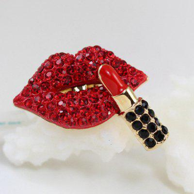 Diamante Lip and Lipstick Pattern Ring