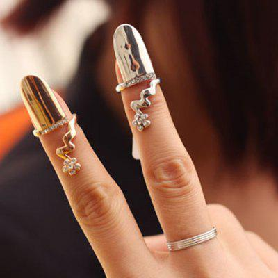 Diamante Flower Pattern Fingertip Ring (ONE PIECE)