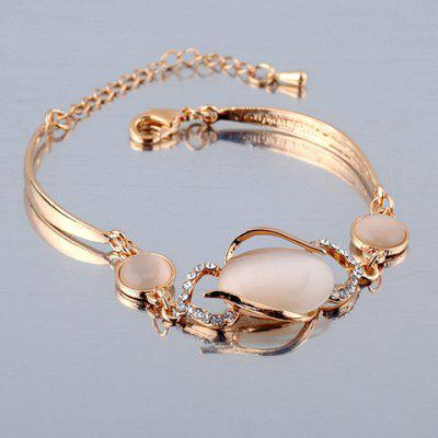 Fashion Faux Opal Decorated Hollow Out Diamante Bracelet For Women