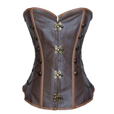 Retro Style Chain Embellished Criss-Cross Lace-Up Corset For Women