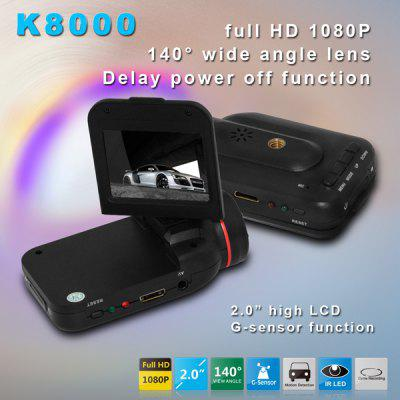 Dome K8000 2.0 inch 1080P Full HD Infrared Car DVR 12.0MP Resolution Video Recorder 140 Degree Wide Angle Lens with Charger