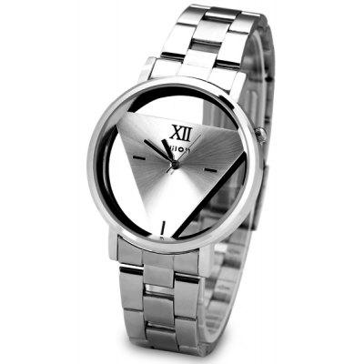 Fashion Steel Band Women Quartz Watch with Triangle Design Round Dial
