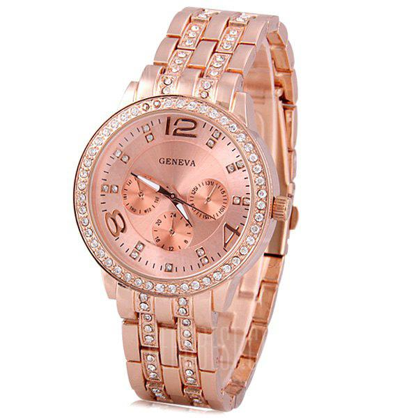 TuHao Golden Watch with Diamonds Round Dial and Steel Band for Women