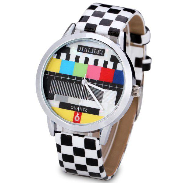 Fashion Women Watch Analog with Checkered Design Round Dial Leather Watch Band