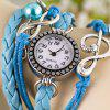cheap Fashion Style Watch with Bead Pendant and Knitting Leather Watch Band