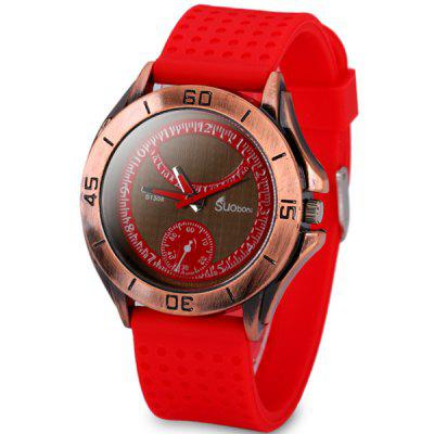 Durable Men Wrist Watch Analog with Round Dial Silicone Watch Band