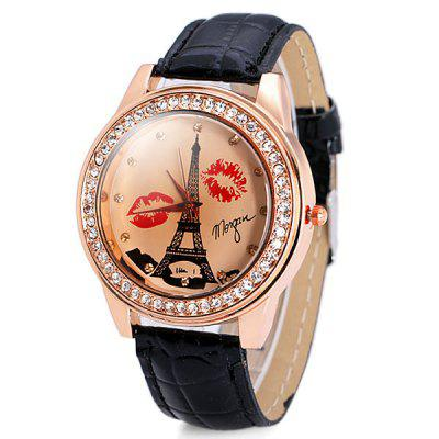 Delicate Leather Band Women Quartz Watch with Diamonds Tower and Lip Round Dial