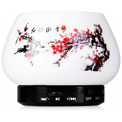 S10 Ceramic Plum Blossom Wireless Bluetooth Stereo Speaker Support TF Card