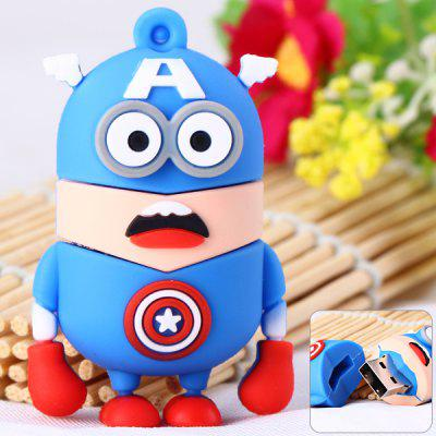 Cartoon Style Captain American Bee-do Pattern 32GB USB 2.0 Flash Memory for Computer