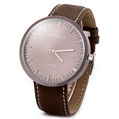 Delicate Japan Movt Men Wrist Watch Analog with Round Dial Leather Watch Band