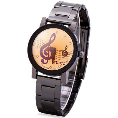 Rosivga Stylish Women Watch Analog with Musical Note Round Dial Steel Watch Band