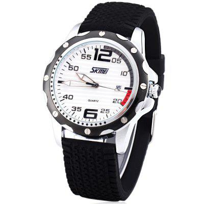 Skmei Special Men Wrist Watch Analog with Date Round Dial Silicone Watch Band