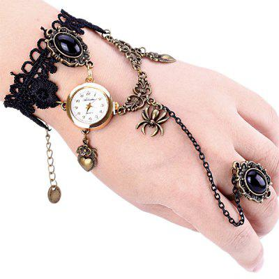 Stylish Design Bracelet Watch with Ring Chain Band for Women