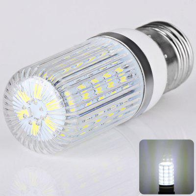 E27 36 x 5730 SMD LED AC220V Corn Lamp Silver Edge with Stripe Lamp Shade  -  White Light