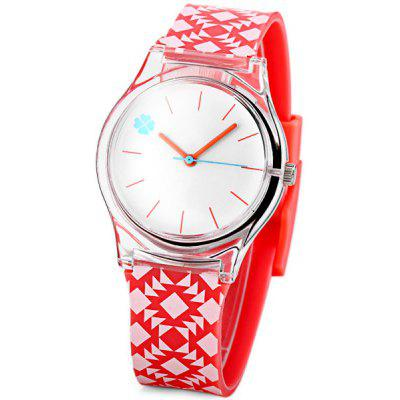 Fashion Women Watch with Geometric Figure Analog Display Round Dial Rubber Watch Band