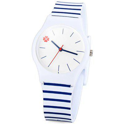 Fashion Women Watch with Stripe Analog Display Round Dial Rubber Watch Band