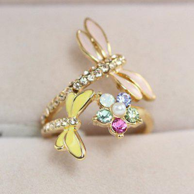 Cute Rhinestone Dragonfly Ring For Women