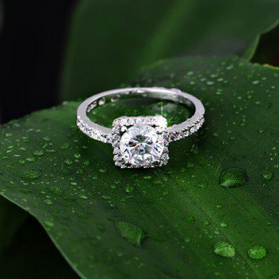 Rhinestone Alloy Square Wedding Ring