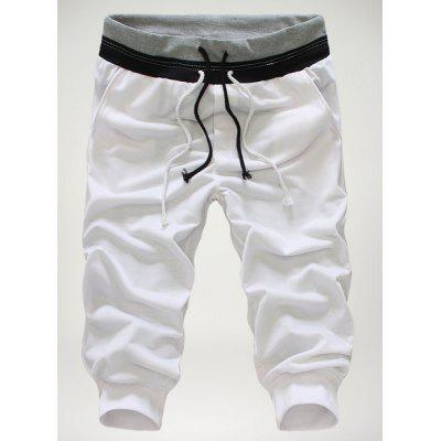 Loose-Fitting Personality Double Lace-Up Design Hit Color Waist Slimming Elastic Cuffs Narrow Feet Men's Cotton Blend Cropped Pants