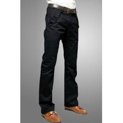 Casual Style Solid Color Zipper Fly Pocket Embellished Straight Leg Pantalons en coton pour hommes