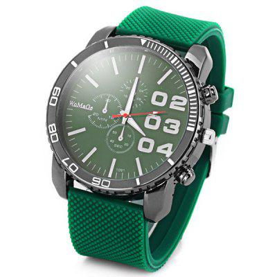 Buy GREEN Cool Men Quartz Wrist Watch with Analog Indicate Round Dial and Rubber Watch Band for $3.84 in GearBest store