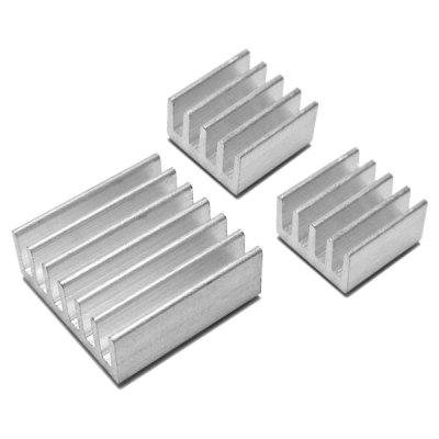 Gearbest 3pcs/Pack Heatsink Heat Dissipation Panel for Raspberry Pi  -  SILVER