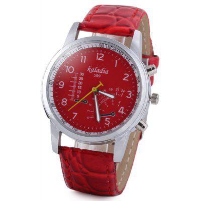 Genuine Leather Watchband Women Quartz Watch with Round Dial