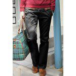 Casual Style Solid Color Zipper Fly Pocket Embellished Straight Leg Pantalons en coton pour hommes - NOIR