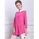 Buy Simple Design Peter Pan Collar Pockets Embellished Long Sleeve Cotton Blend Women's Dress XS ROSE MADDER
