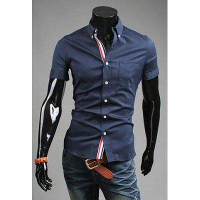Embroidery Navy Men\'s Summer Shirts