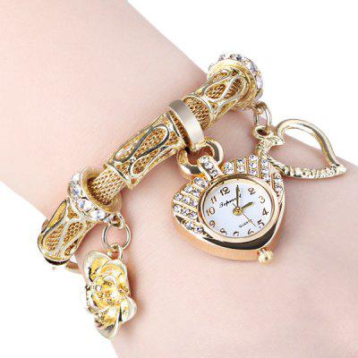 01457 Luxury Women Bracelet Heart Diamante Dial Watch with Flower and Heart Alloy Chain Watchband