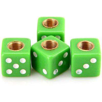 4Pcs/ Pack Grass Green Gaming Die Shape Tire Wheel Valve Cap