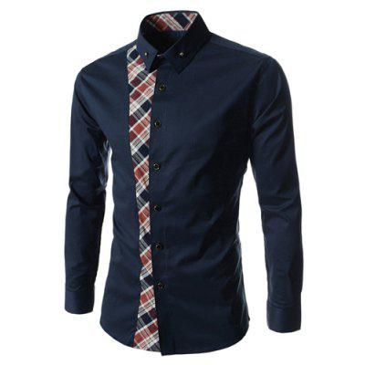 Checked Print Navy Shirt for Men