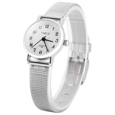 Timele 392 Female Quartz Watch Round Dial and Stainless Steel Watchband